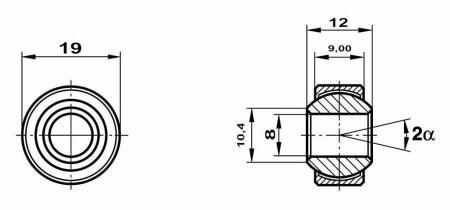 Fluro Motorsport Gelenklager  8x19x12/9 MS  GXSW 8.19 Lager vorgespannt