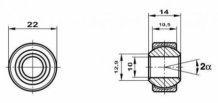 Fluro Motorsport Gelenklager 10x22x14/10,5 MS  GXSW 10.22 Lager vorgespannt