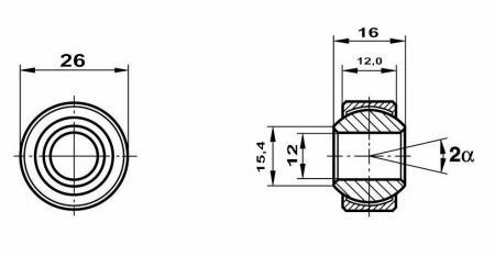 Fluro Motorsport Gelenklager 12x26x16/12 MS  GXSX 12.26 Lager vorgespannt