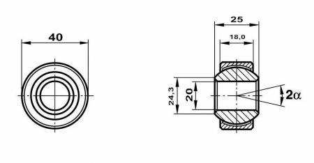 Fluro Motorsport Gelenklager 20x40x25/18 MS  GXSW 20.40 Lager vorgespannt