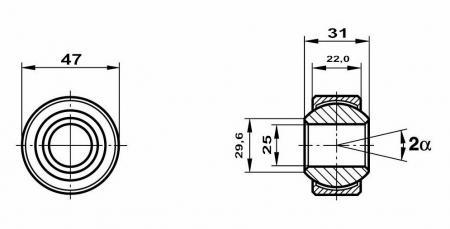 Fluro Motorsport Gelenklager 25x47x31/22 MS  GXSW 25.47 Lager vorgespannt
