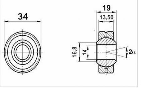 Fluro Motorsport Gelenklager 14x34x19/13,5 MS  GXOW 14.34, Lager vorgespannt