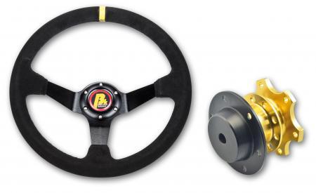 Beltenick® Sportlenkrad Rallye 350mm  95mm geschüsselt Wildleder - Set mit Schnellverschluss