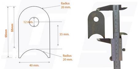 Schweisslasche Nr.1   65x40x4 (12mm Loch)  - Domex700