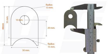 Schweisslasche Nr.2    44x30x4 (10mm Loch)  - Domex700