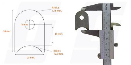 Schweisslasche Nr.4   25x36x4 (8mm Loch)  - Domex700