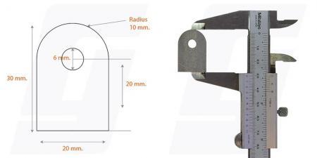 Schweisslasche Nr.5   20x30x4 (6mm Loch)  - Domex700