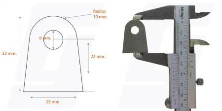 Schweisslasche Nr.6  25x32x4 (8mm Loch)  - Domex700