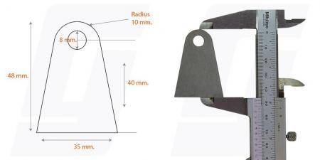 Schweisslasche Nr.11   35x48x3 (8mm Loch)  - Domex700