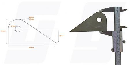 Schweisslasche Nr.12   100x50x4 (12mm Loch)  - Domex700