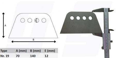 Schweisslasche Nr.19   140x70x4mm (12mm Loch)  - Domex700